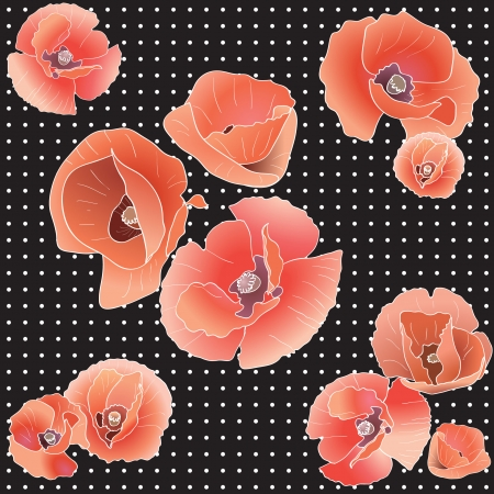 greenfield: Seamless pattern with red poppy. Red flower and leaves. Vector illustration