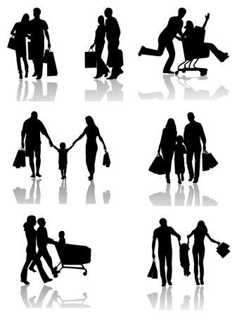 mannen en vrouwen: Happy Family Shopping. Silhouetten geïsoleerd. Vector illustratie