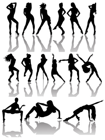 Set of silhouettes of dancing couple and girls. Vector illustration Vector