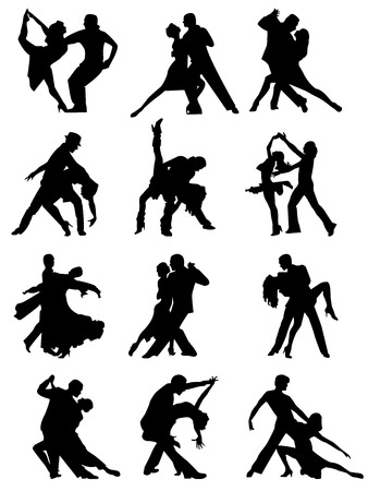 Set of silhouettes of dancing couple . Vector illustration
