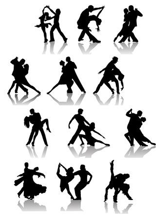 mujeres latinas: Conjunto de siluetas de pareja de baile. Ilustraci�n vectorial