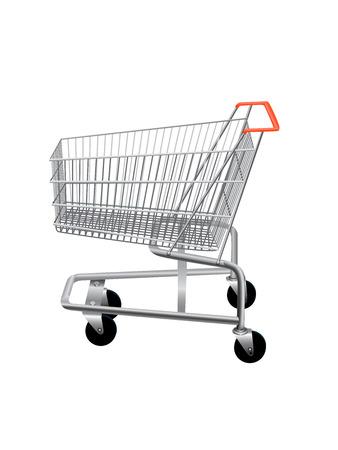 supermarket shopping cart: Vaciar carrito de supermercado de compras aislado en el fondo blanco. Ilustraci�n vectorial Vectores