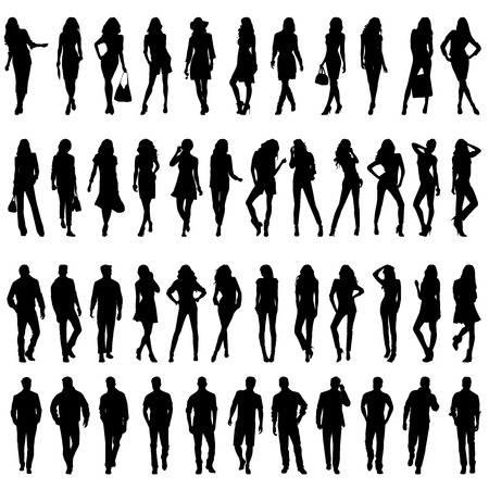 man long hair: Silhouettes of happy young beautiful walking sexy women and men   Vector illustration