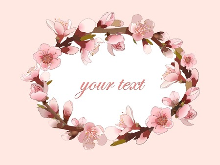 Seamless pattern with blossoming almond branch with pink flowers. Realistic vector illustration Vector