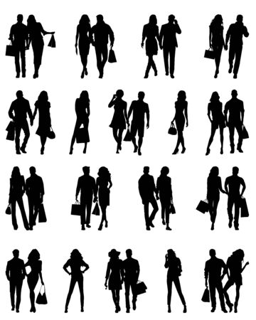 Silhouettes of happy young beautiful walking sexy women and men .  Vector
