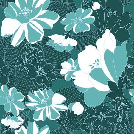 golden daisy: Floral sin fisuras patr�n de fondo con la ilustraci�n vectorial crisantemo