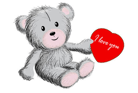 plushy: Holiday valentine s background with bear and heart