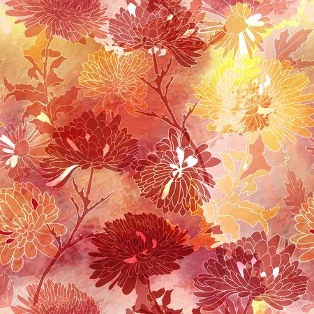 花のシームレスなパターン。菊との背景。