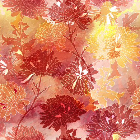 Floral seamless pattern. Background with chrysanthemum.  Ilustrace