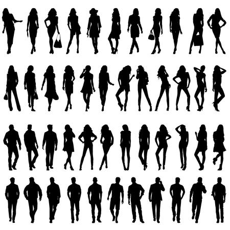 jeunes joyeux: Silhouettes de belles jeunes femmes et des hommes � pied sexy heureux.