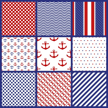 Set of  Seamless Geometric Patterns in Marine Style. Vector