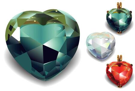 Set of shiny valentines diamond hearts  Vector Vector
