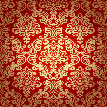 Seamless pattern background. Damask wallpaper.  Çizim