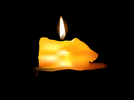 Illustration of burning candle on black background .  Vector