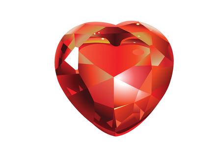 Red Shiny valentines diamond hearts .  Vector
