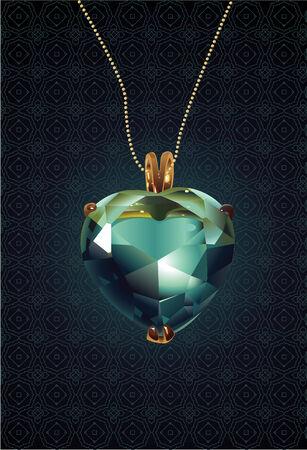 Shiny valentines diamond hearts with shadow.  Vector
