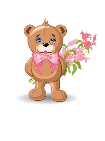 plushy: Holiday background with bear and flower.