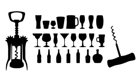 gateau: Silhouette of drinks  Cafe icons  Vector illustration