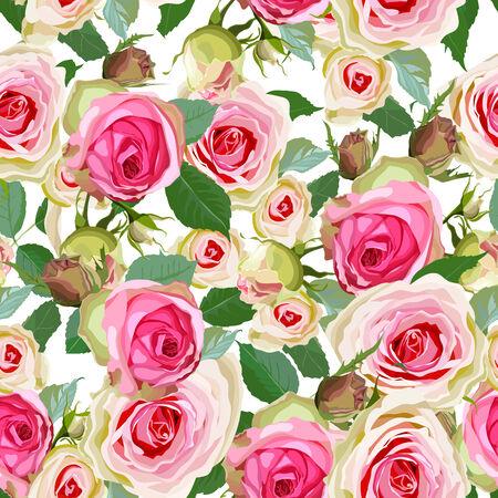 장미 일러스트와 함께 고급스러운 색상 원활한 패턴입니다.