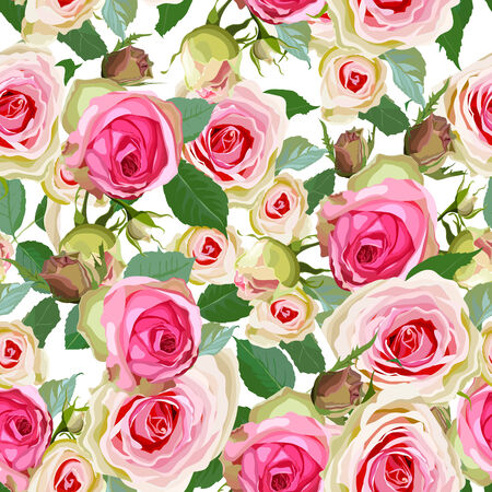 Luxurious color seamless pattern with roses illustration.