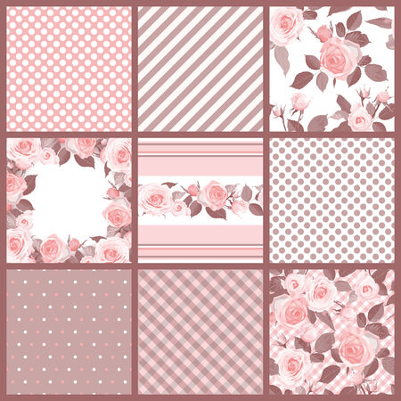 Set of  patterns and floral seamless with roses.  Vector