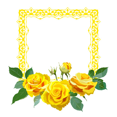 Square frame with yellow realistic roses.