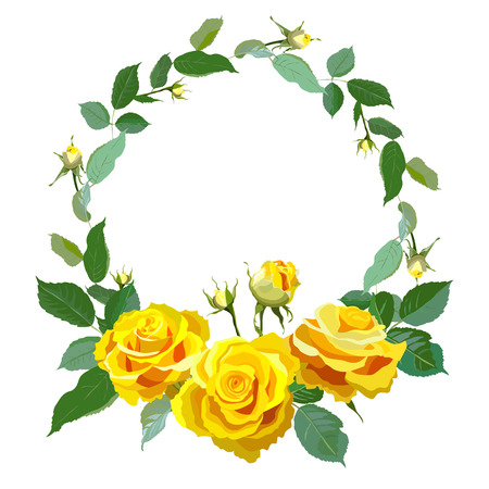 Round frame with yellow realistic roses.