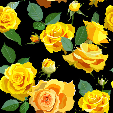 flower rose: Seamless Floral Background With Yellow Roses.
