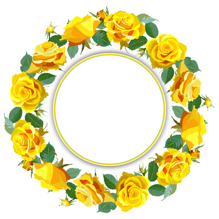 gele rozen: Wreath Background with Yellow Roses.