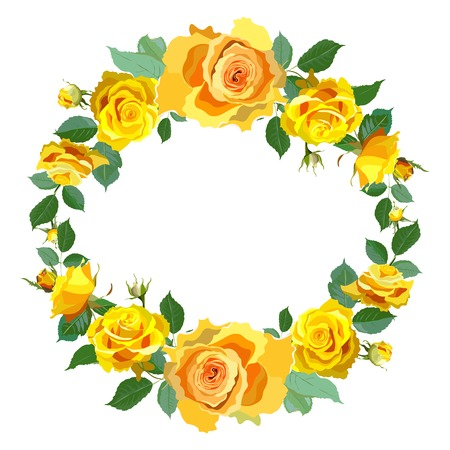 yellow roses: Wreath Background with Yellow Roses.