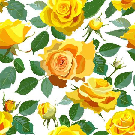 노란 장미와 원활한 꽃 배경입니다.