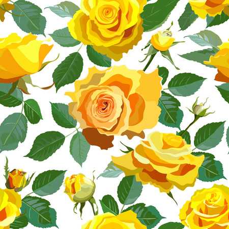 yellow roses: Seamless Floral Background With Yellow Roses.