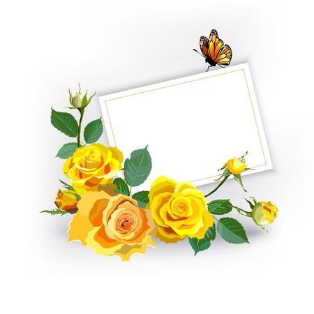 yellow roses: Fondo floral con las rosas amarillas Vectores