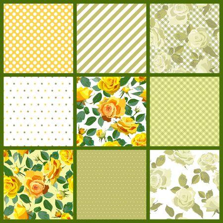 scrapbook background: Seamless pattern background. Patchwork tiles. Floral motifs. Scrapbook design elements.Vector illustration Illustration