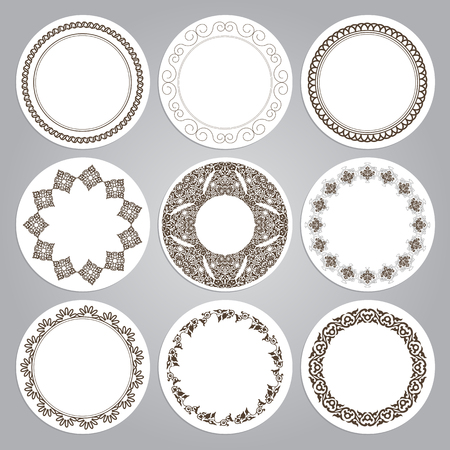 decorative border: Set of nine round frames in luxury style. Eastern motifs. Vector illustration Illustration