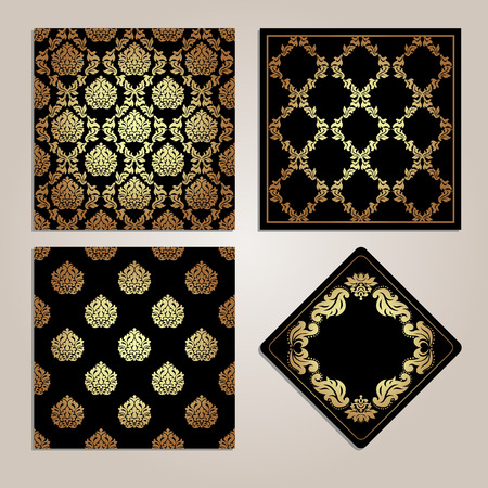 damask frame: Set of gold seamless pattern and frame. Damask motifs.Royal style ornaments.Vector illustration Illustration
