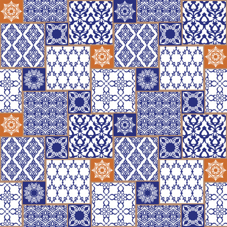 rosettes: Seamless with oriental motif. Colorful patchwork background. Set of pattern with filigree ornaments. Vector illustration.