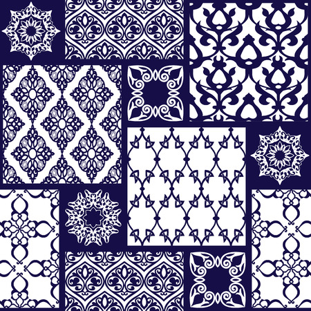 navy: Seamless with oriental motif. Colorful patchwork background. Set of pattern with filigree ornaments. Vector illustration.