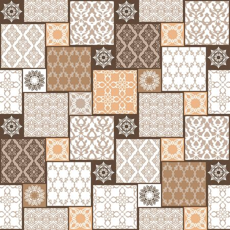 patchwork background: Seamless with oriental motif. Colorful patchwork background. Set of pattern with filigree ornaments. Vector illustration.