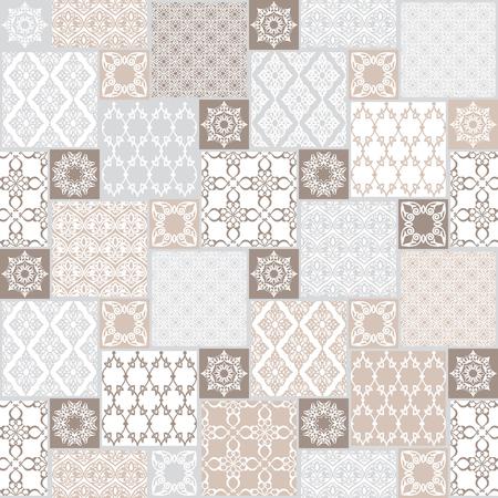 Naadloos met oosterse motief. Pastel patchwork achtergrond. Set van patroon met filigraan ornamenten. Vector illustratie.