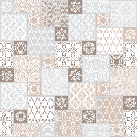Seamless with oriental motif. Pastel patchwork background. Set of pattern with filigree ornaments. Vector illustration.