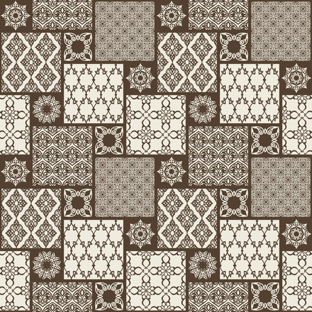 Seamless with oriental motif. Monochrome patchwork background. Set of pattern with filigree ornaments. Vector illustration. Illustration