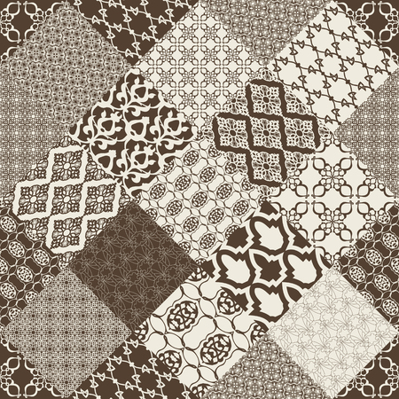 patchwork background: Seamless with oriental motif. Monochrome patchwork background. Set of pattern with filigree ornaments. Vector illustration. Illustration