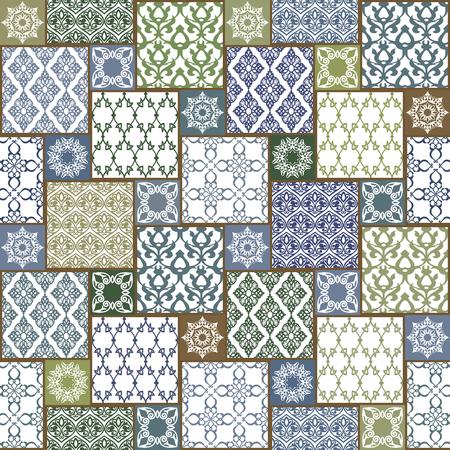 東洋のモチーフとのシームレスです。カラフルなパッチワークの背景。フィリグリー装飾とパターンのセットです。ベクトルの図。