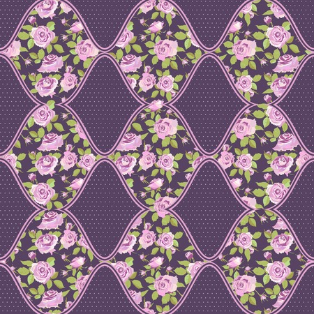 patchwork background: Seamless patchwork background. Floral motifs with pink roses. Vector illustration