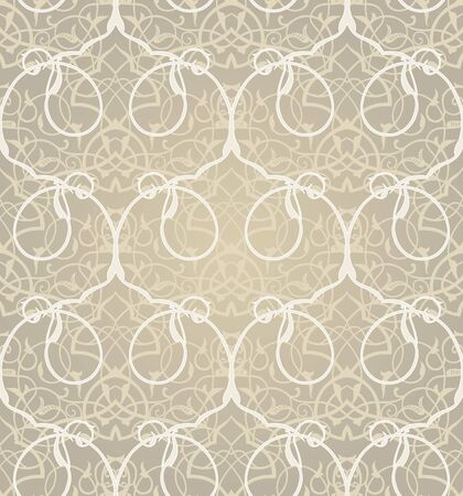 scrollwork: Vintage seamless pattern with lacy ornament. It can be used for wallpaper, pattern fills, web page background, surface textures. Illustration