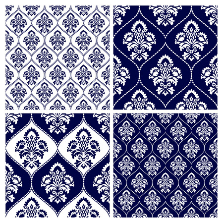 delicate arabic motif: Set of seamless background.Navy blue and white ornaments. Geometric patterns. Vector illustration