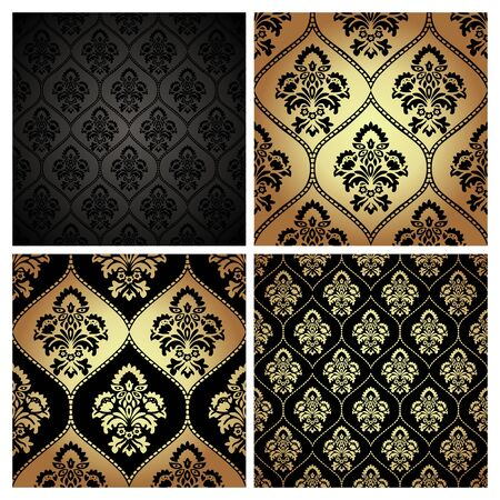 Set of luxury style gold and black background. Seamless pattern texture with damask motif. Vector illustration Vector Illustration