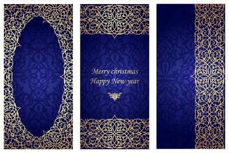 빅토리아 스타일에서 크리스마스 카드의 집합입니다. 인사말 카드 및 초대장 템플릿 프레임입니다. 텍스트에 대 한 화려한 테두리와 장소. 벡터 일러 일러스트