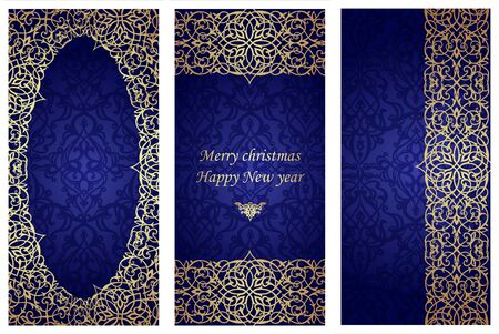 Set of christmas cards in Victorian style. Template frame for greeting card and invitation. Ornate border and place for your text. Vector illustration